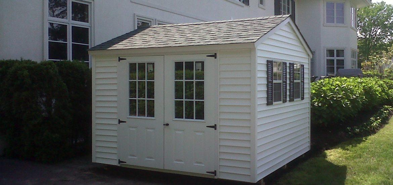 10x10 white vinyl gable double 9 lite doors