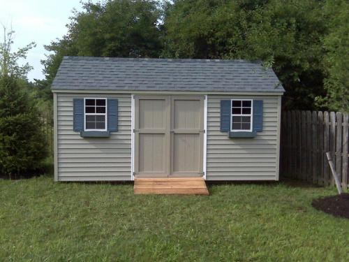 10x16 Vinyl Gable with double 30-inch wood doors